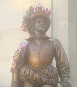 Our Sir Walter Raleigh decked out for the 2009 International Festival.