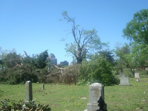 Tornado damage in Raleigh City Cemetery.