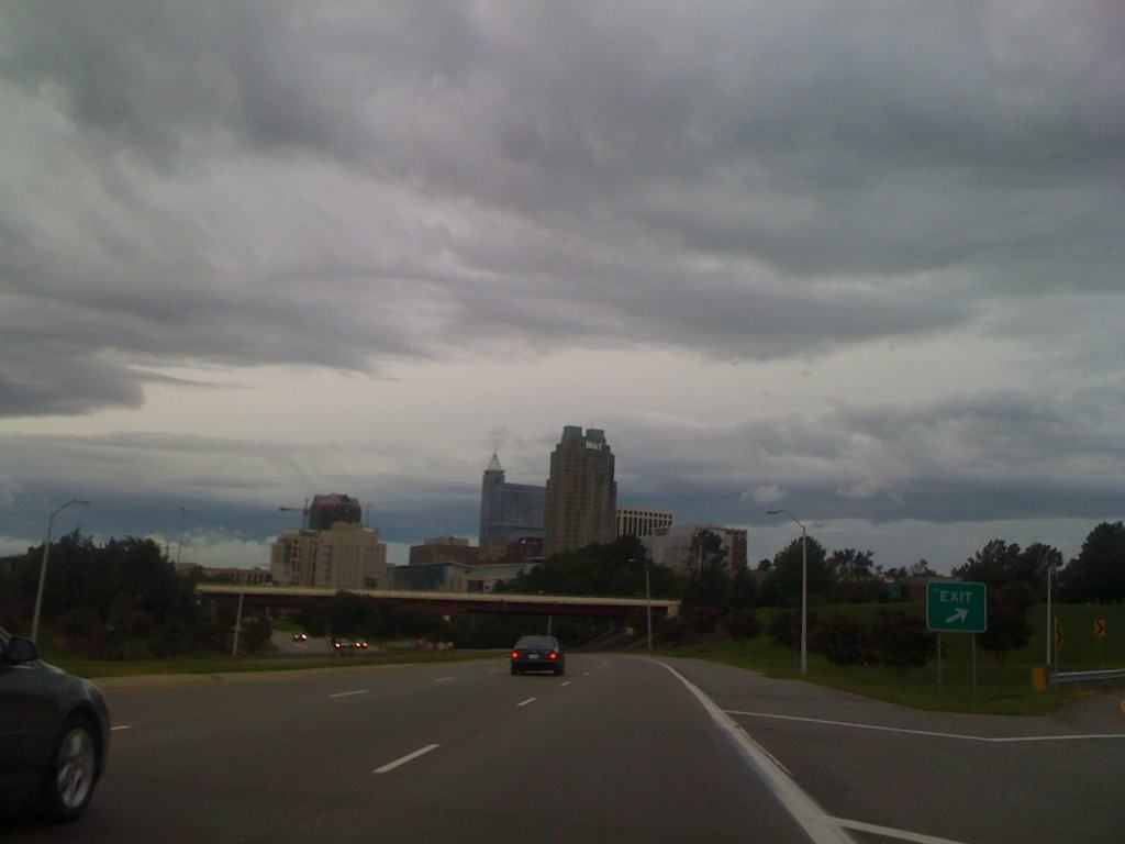 Hurricane Irene's clouds over Downtown Raleigh
