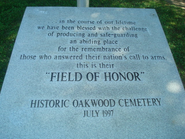 Historic Oakwood Cemetery's Field of Honor Monument