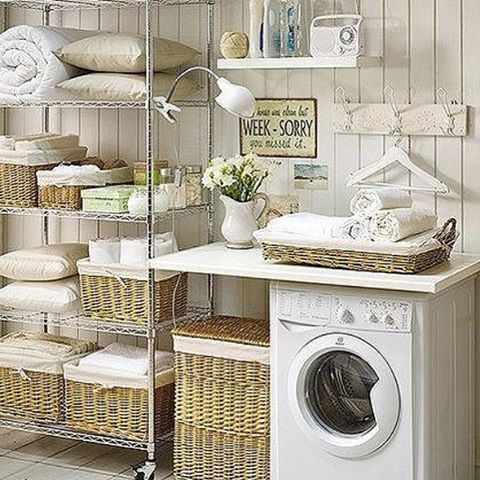 white wicker laundry room